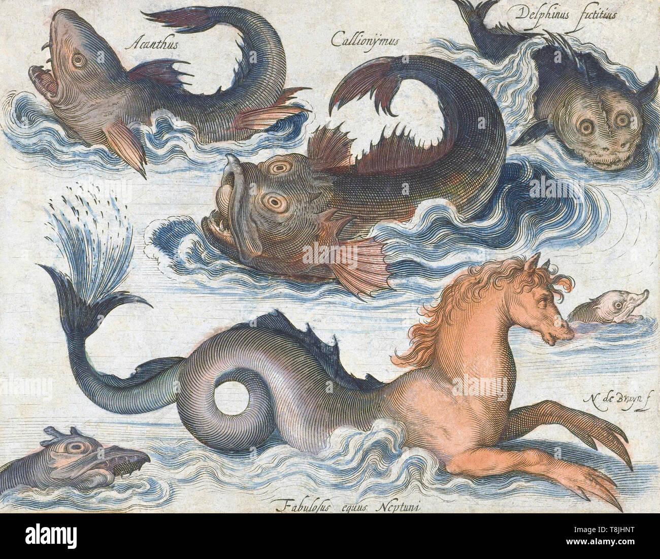 Caballito de mar y otras criaturas del mar imaginario, después de un siglo xvii grabado de Nicolaes de Bruyn. Posteriormente coloreado. Imagen De Stock