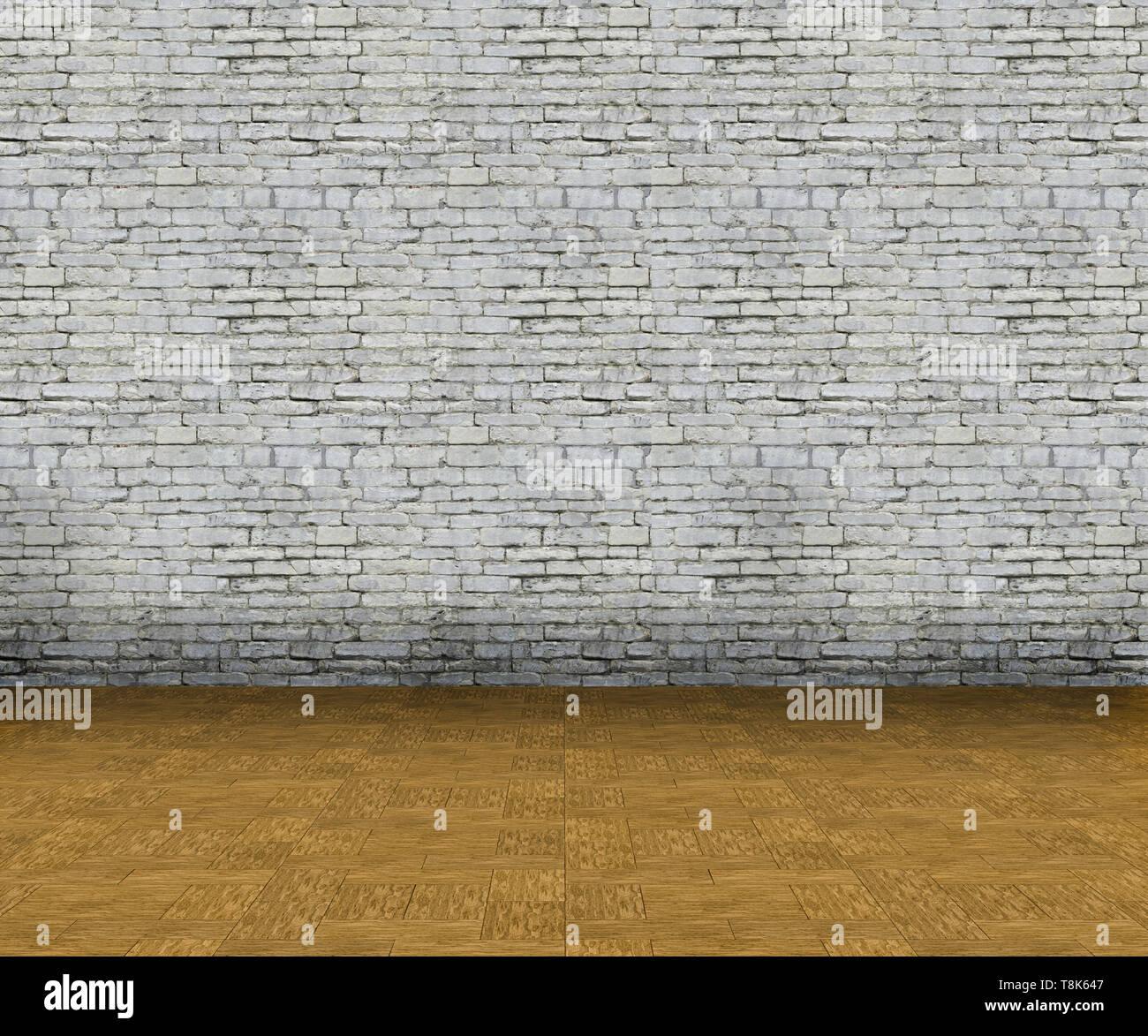 3D Render de un vacío interior, con paredes de ladrillo y piso de madera Foto de stock