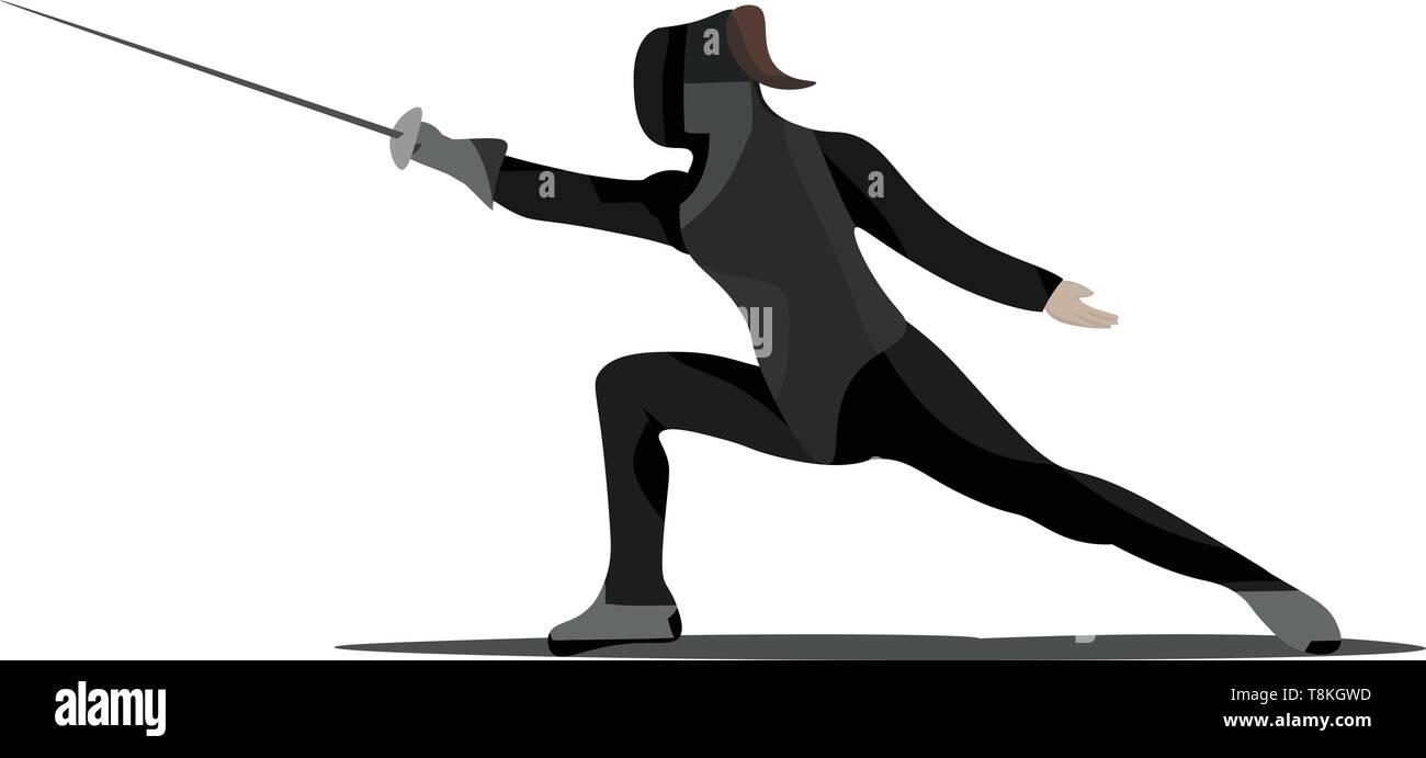 Una Ilustracion En Color De Un Hombre Con Una Espada De