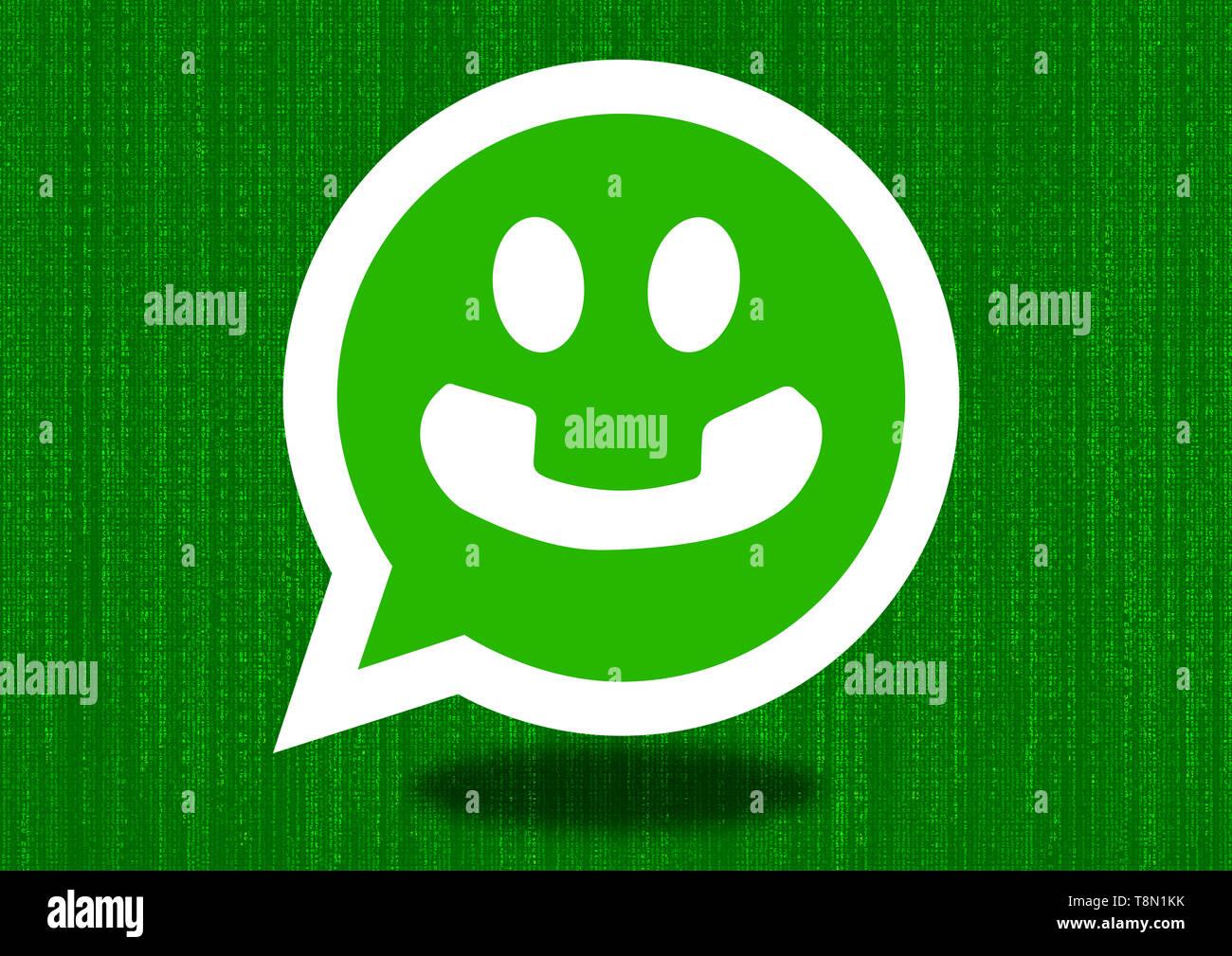 Whatsapp Smiley Face emoji - comunicación ilustración Imagen De Stock