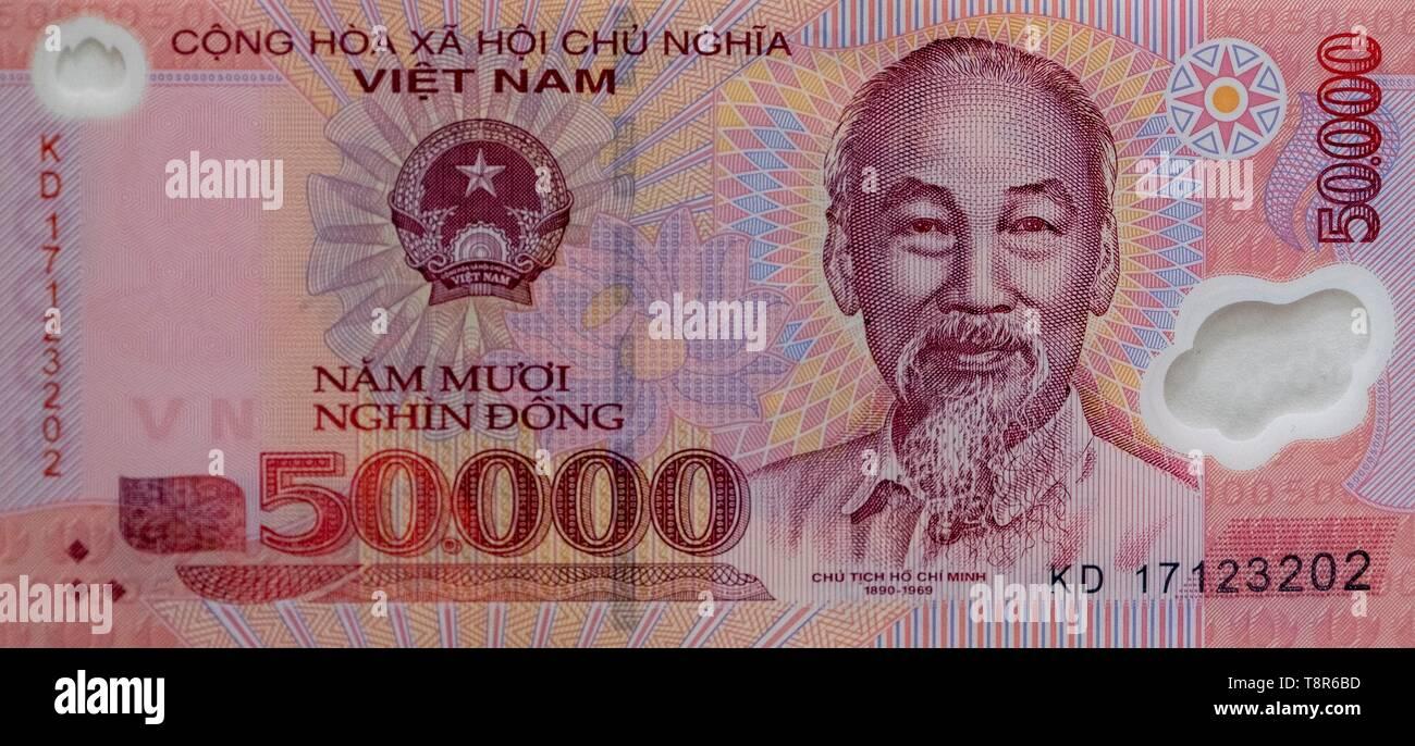 Vietnam, Hanoi, Nota de 50.000 dong, retrato de Ho Chi Minh. Imagen De Stock