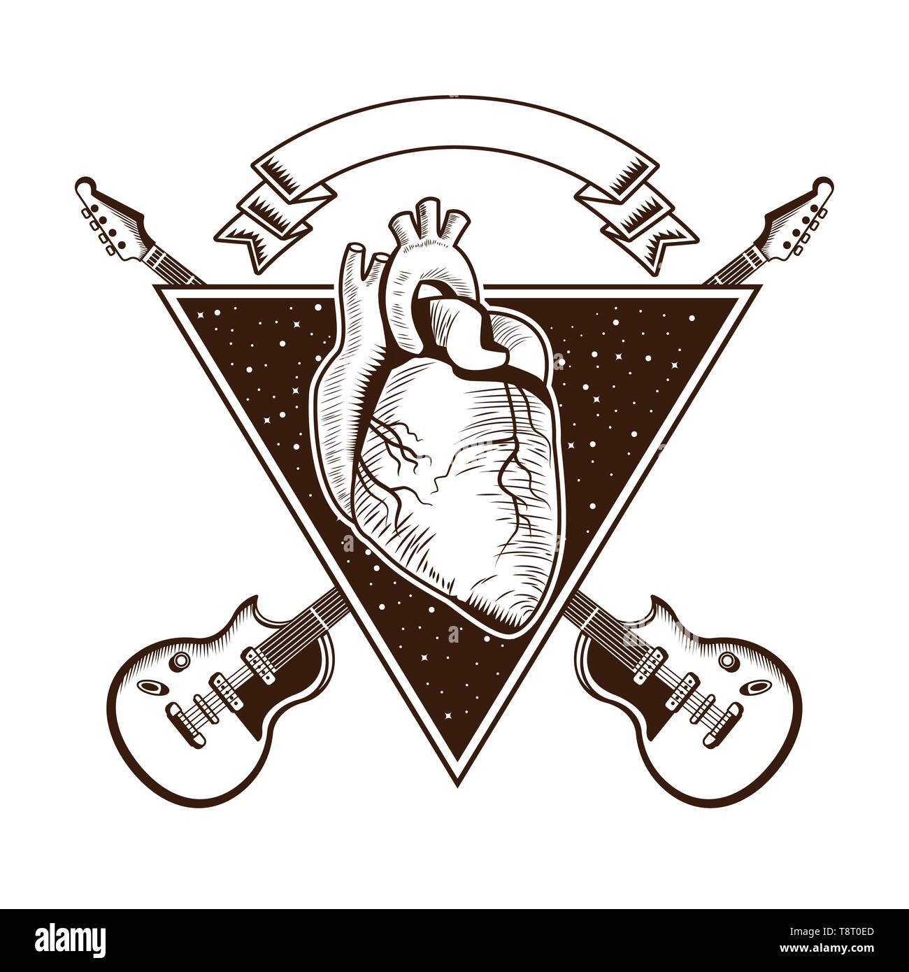 El Rock And Roll Vintage Emblema Con Dibujos Ilustración Del