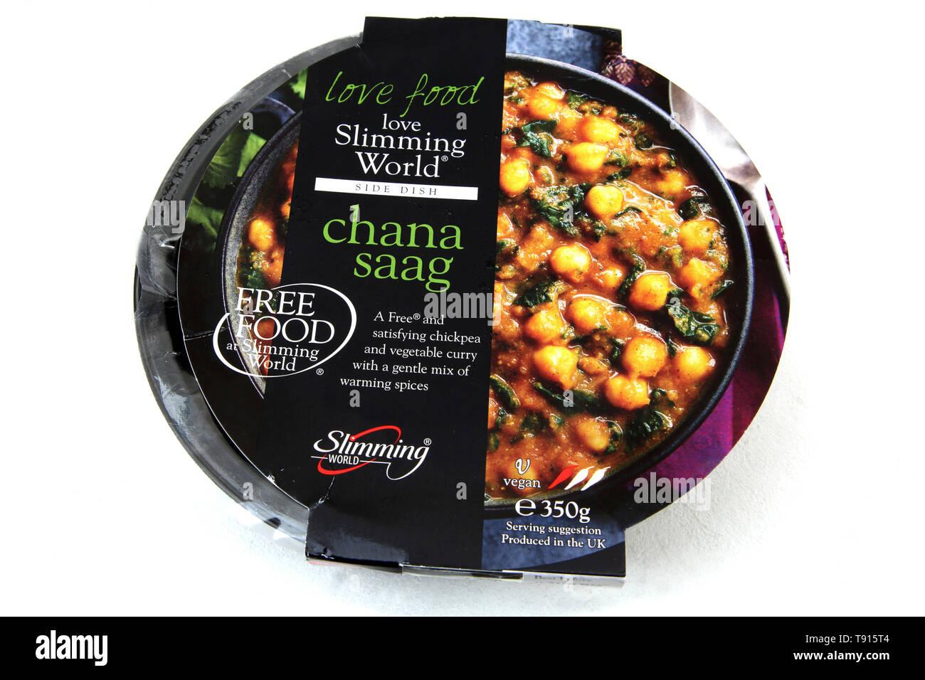 Mundo de adelgazamiento veganas Chana Saag garbanzo y curry de verduras Foto de stock
