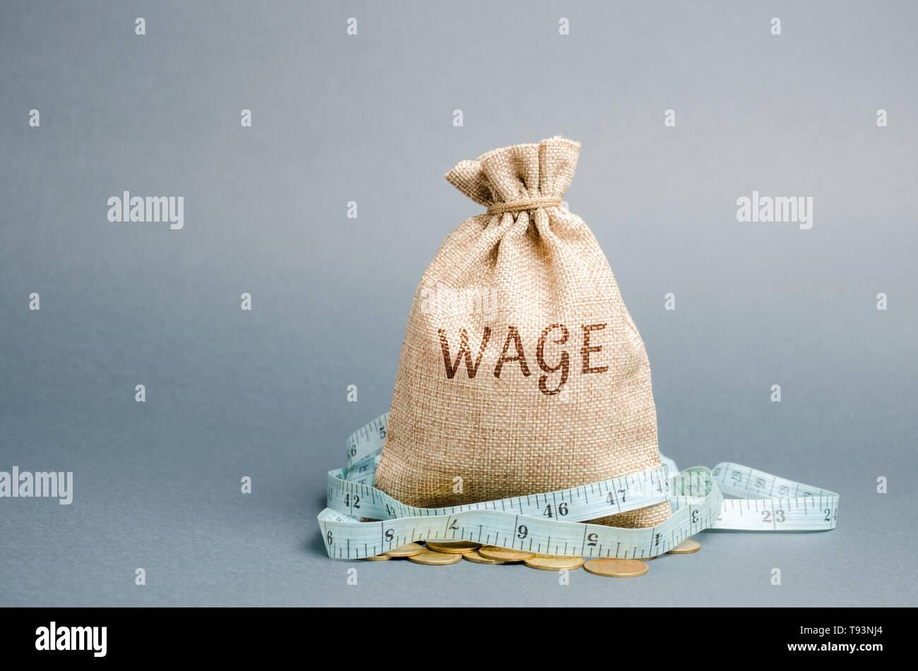 Bolsa de dinero con la palabra salario y cinta métrica. Los recortes salariales. El concepto de beneficio limitado. La falta de dinero y de la pobreza. Los pequeños ingresos. La reducción de los salarios. Onu Foto de stock