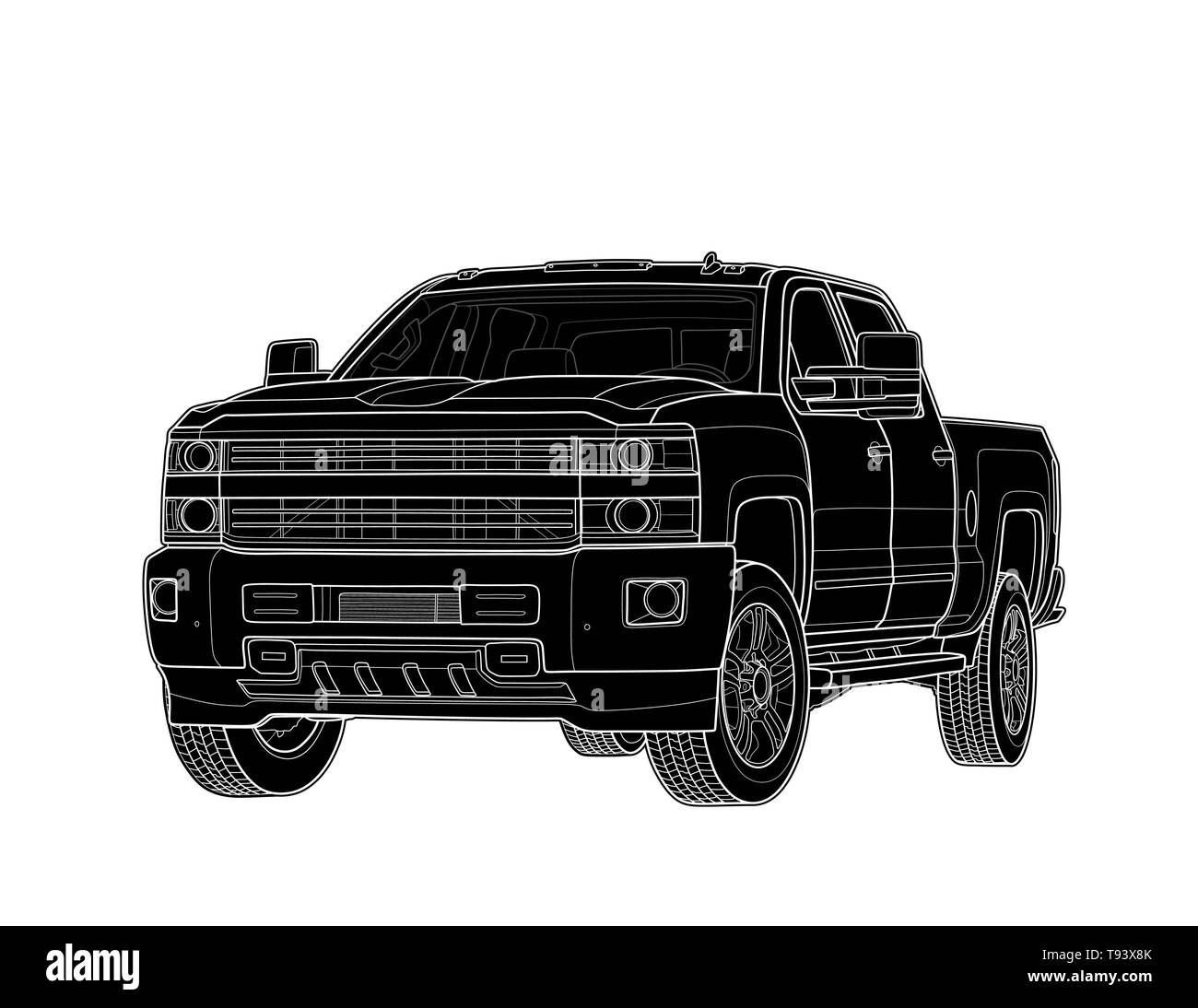 Camioneta Dibujar Vectores Aislado En Blanco Ilustración Del