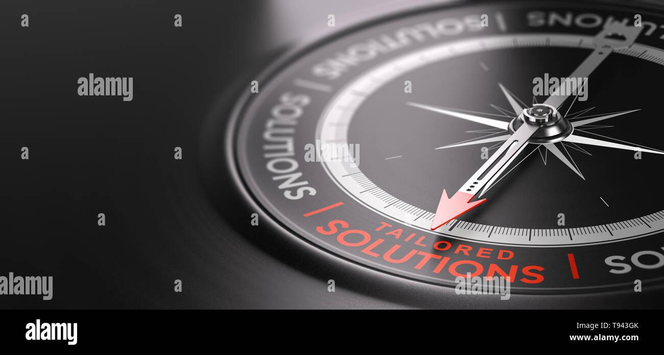 Ilustración 3D de una brújula sobre fondo negro con el texto soluciones personalizadas escritas en rojo. A medida el concepto de servicios. Imagen De Stock
