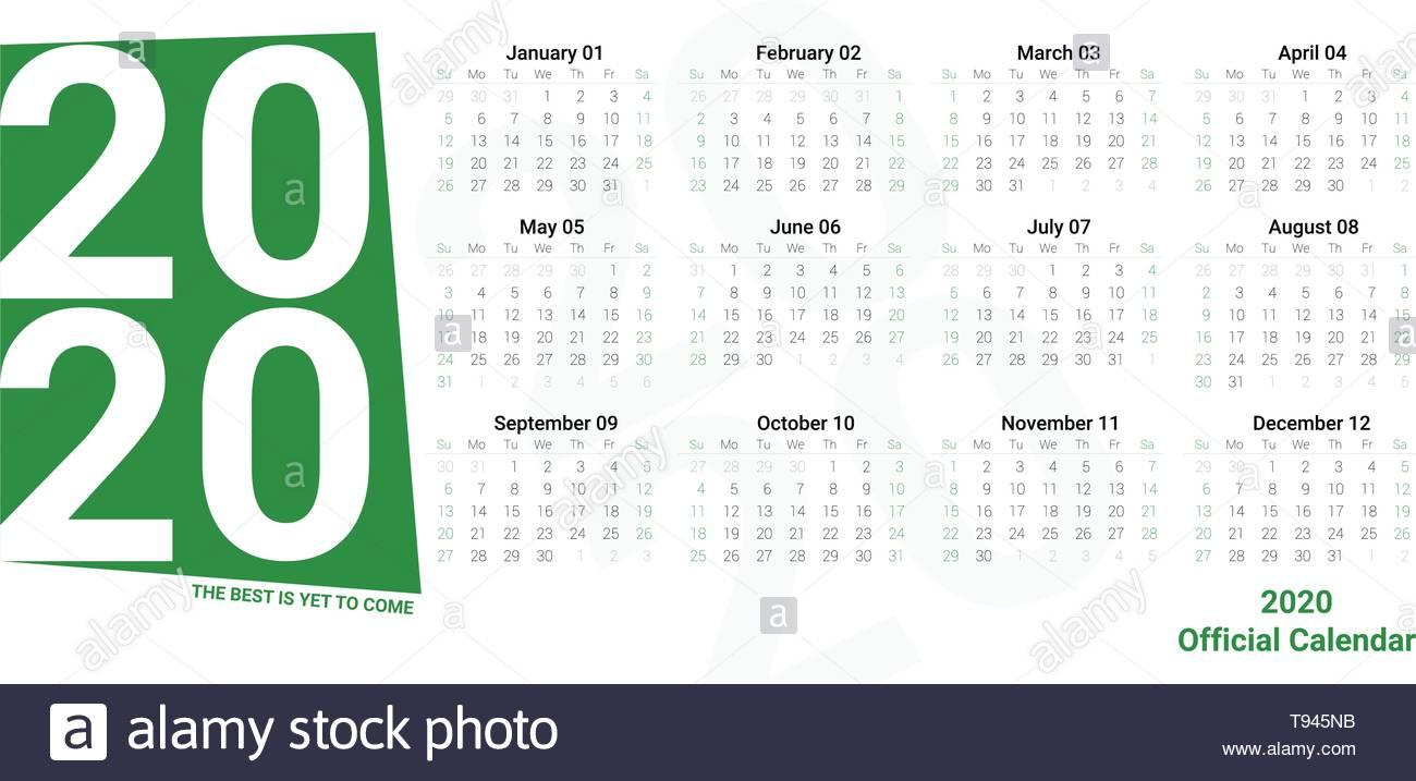 Calendario Diario 2020.Diario Vector Plantilla De Calendario De 2020 En Colores