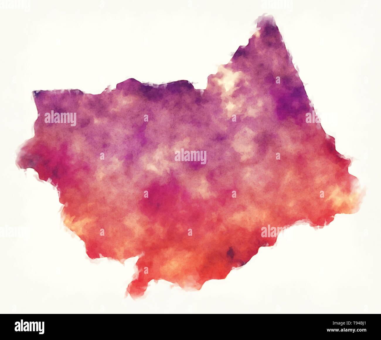 Provincia de seno acuarela Mapa de Burkina Faso Imagen De Stock