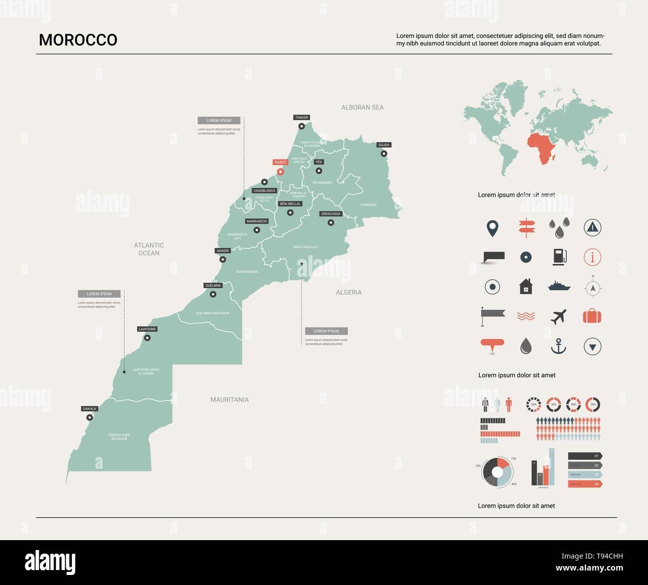 Mapa De Marruecos Ciudades.Mapa De Vectores De Marruecos Mapa Del Pais Con La Division