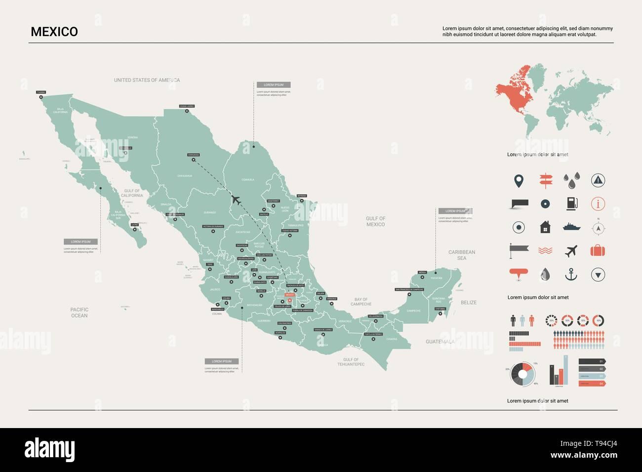 Mapa De Vectores De Mexico Mapa Del Pais Con La Division Ciudades Y Capitales Mapa Politico El Mapa Del Mundo Elementos Infograficos Imagen Vector De Stock Alamy
