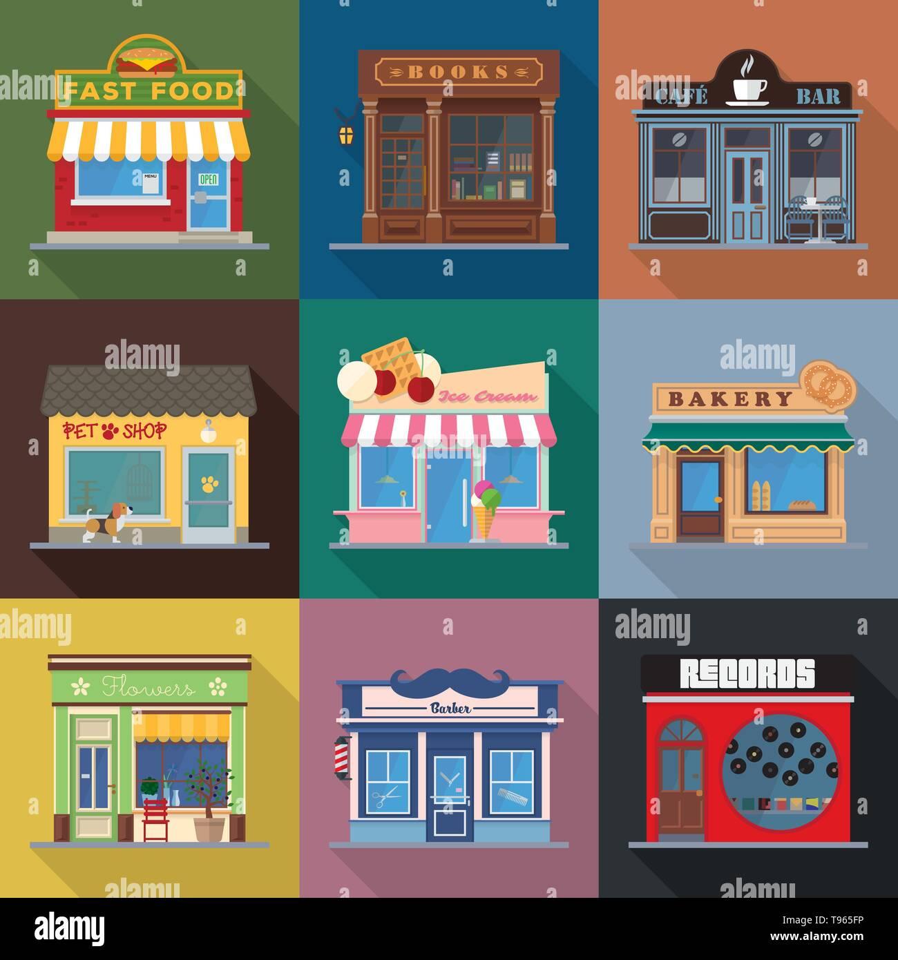 9abc22352 Tiendas y lugares de celebración escaparates diseño plana larga sombra  ilustración vectorial Imagen De Stock