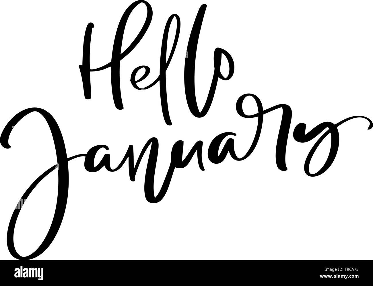 Hola Dibujados A Mano Frase Letras De Enero Pincel De Tinta