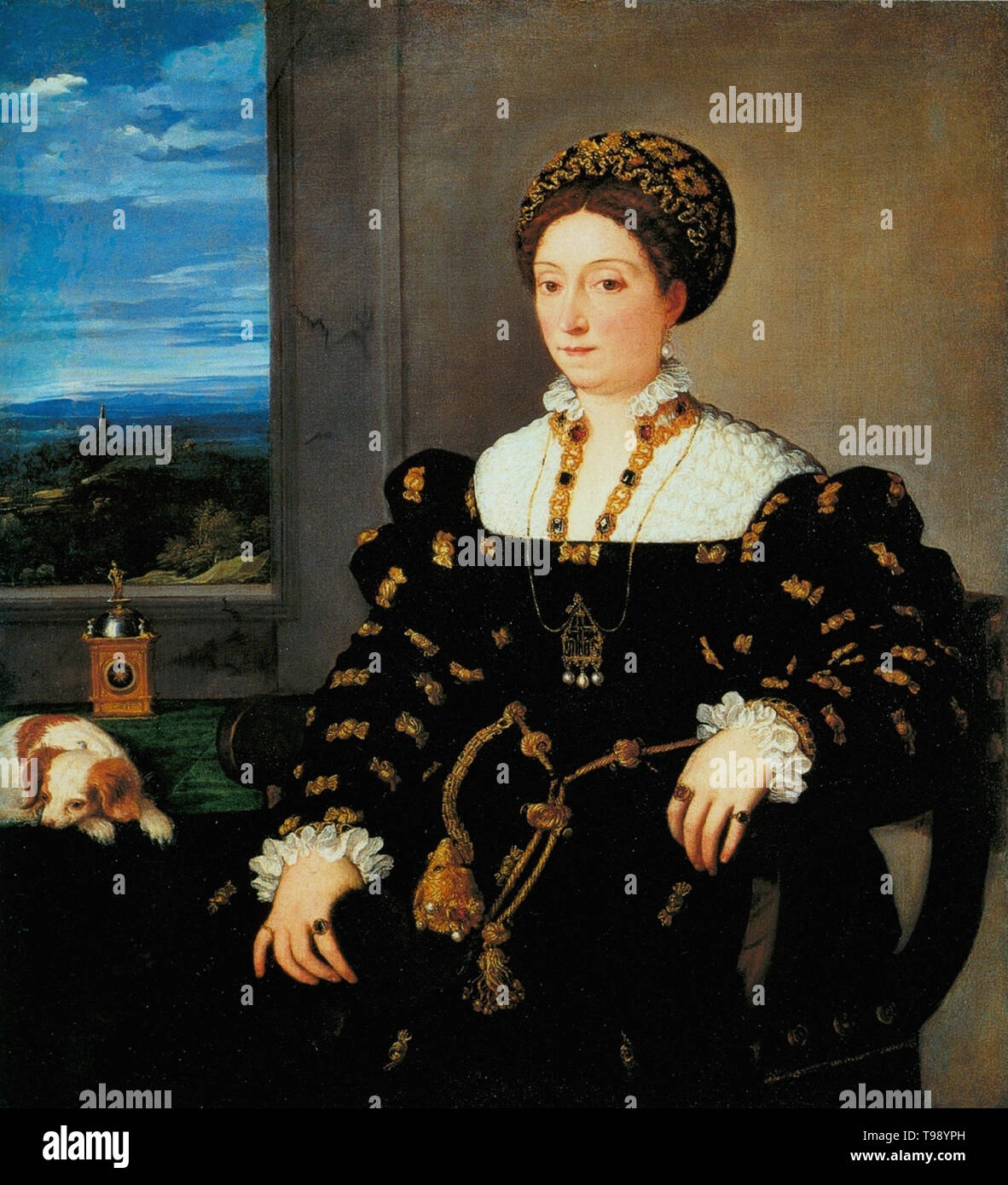 Tiziano Vecelli, Tiziano - Retrato Eleonor Gonzag 1538 Foto de stock