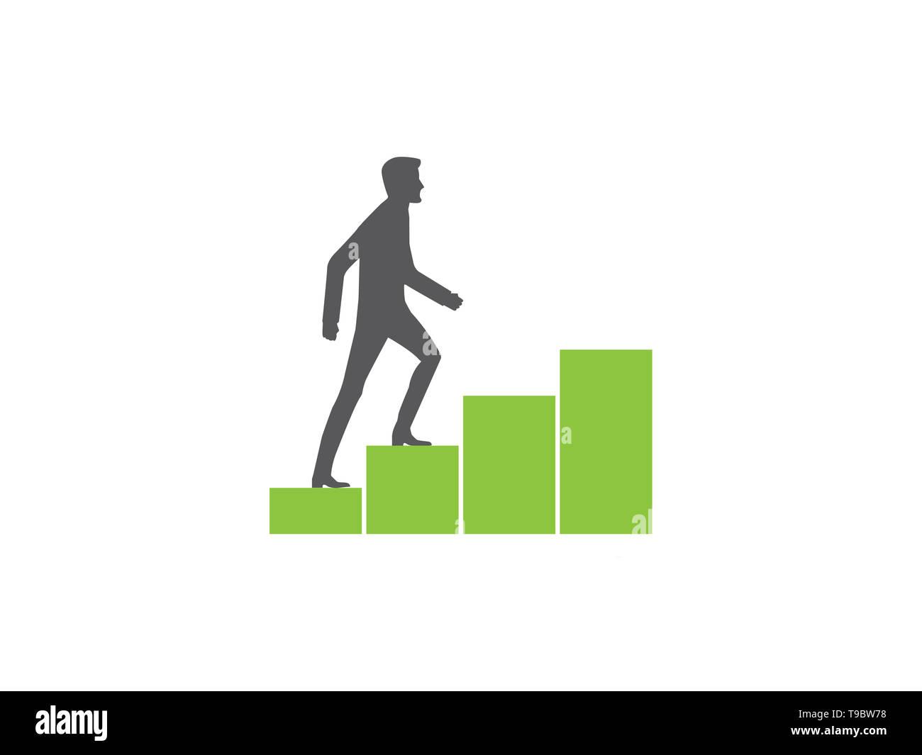 Crecimiento Personal, el hombre caminando hacia un gráfico ascendente Imagen De Stock