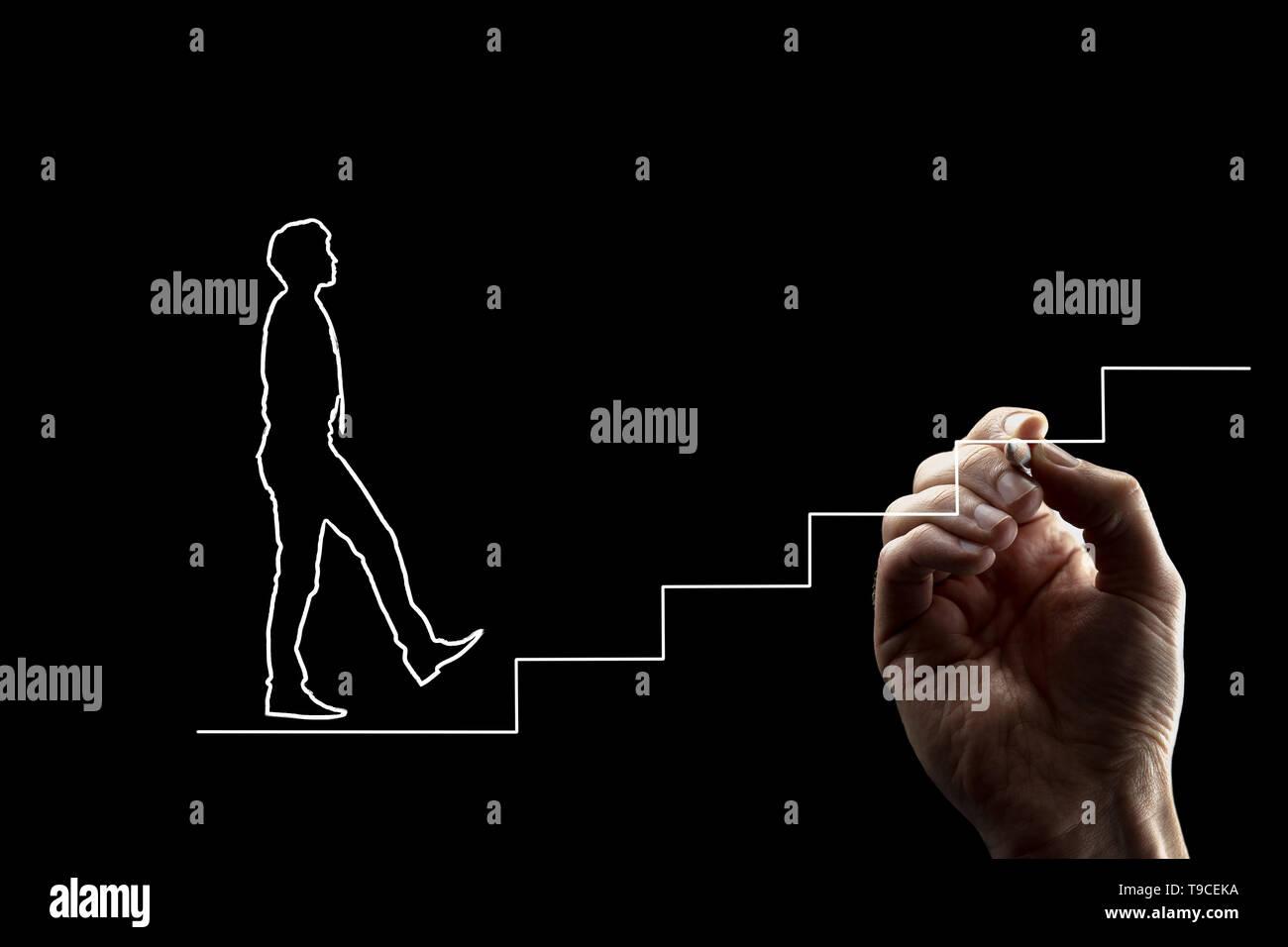 Forma de un hombre en empate subir escaleras. Dibujo a mano alzada, líneas blancas sobre fondo negro. Apto para el trabajo en equipo y crecimiento personal conceptos. Imagen De Stock