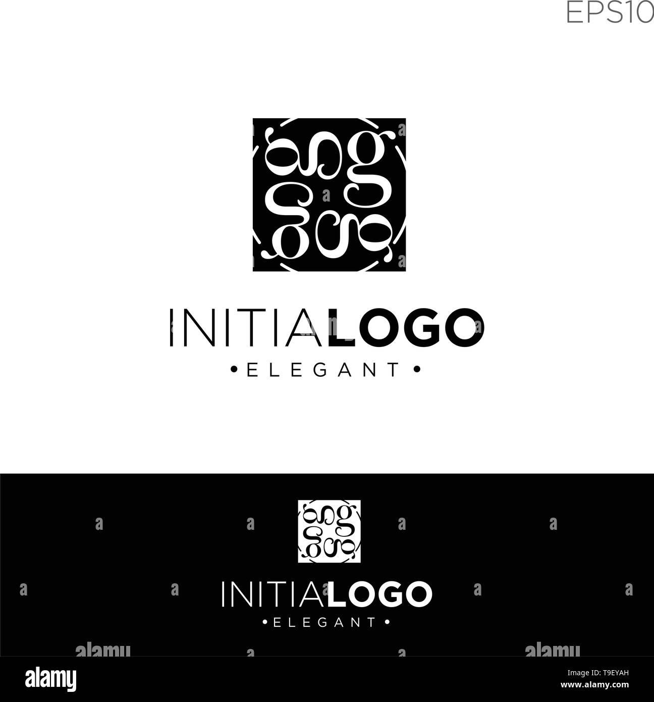 2e6c207618 Monograma G inicial plantilla de logotipo de color negro ilustración vector  - vector Imagen De Stock
