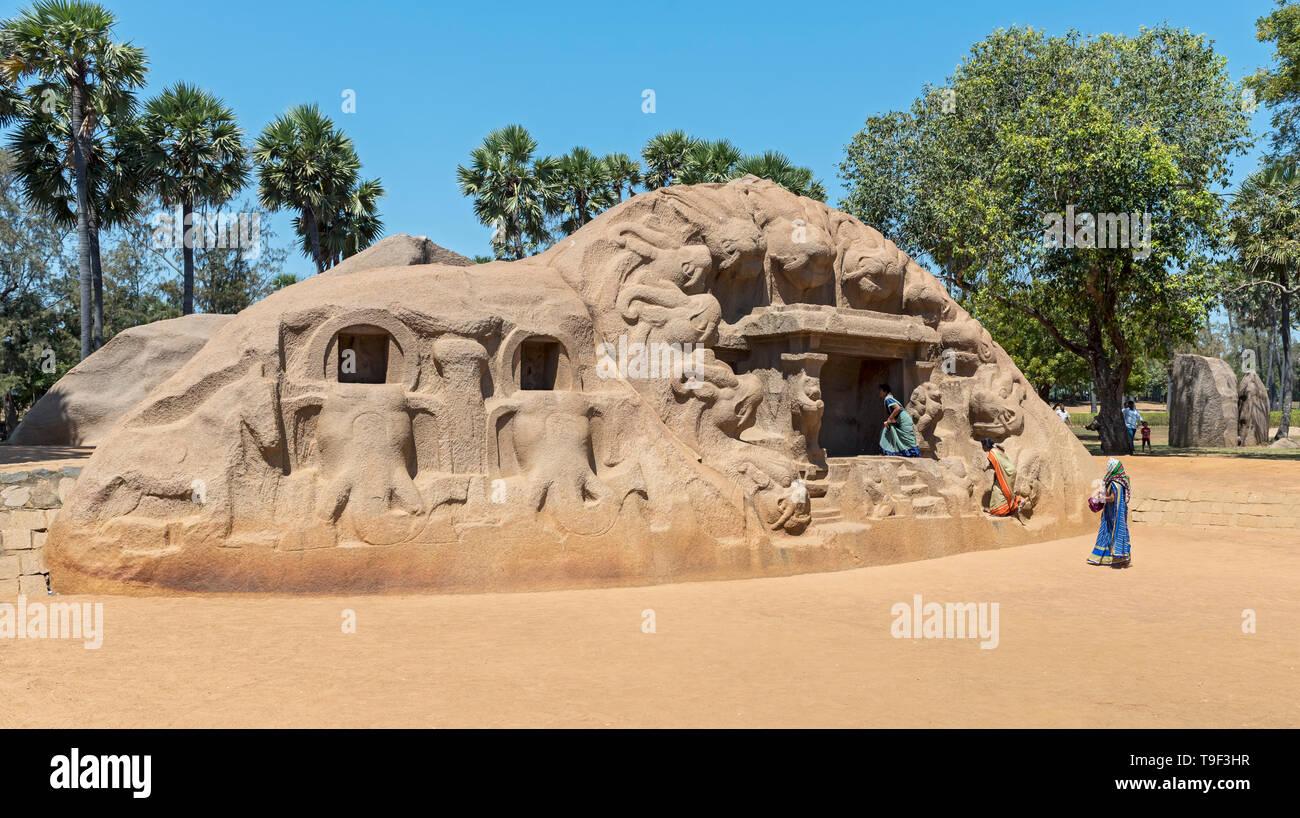 El Templo Cueva del Tigre (Yali), Mahabalipuram (Mamallapuram), India Imagen De Stock