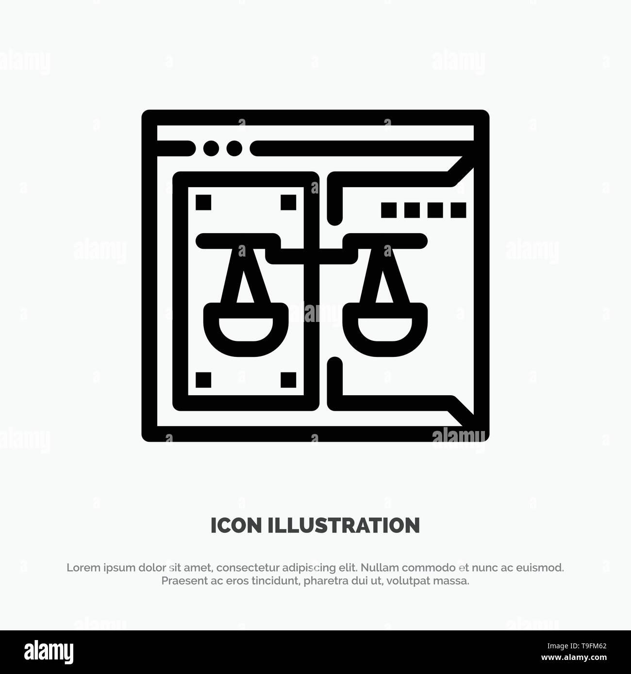 Negocios, Copyright, Tribunal, Digital, Ley Línea Vector icono Ilustración del Vector