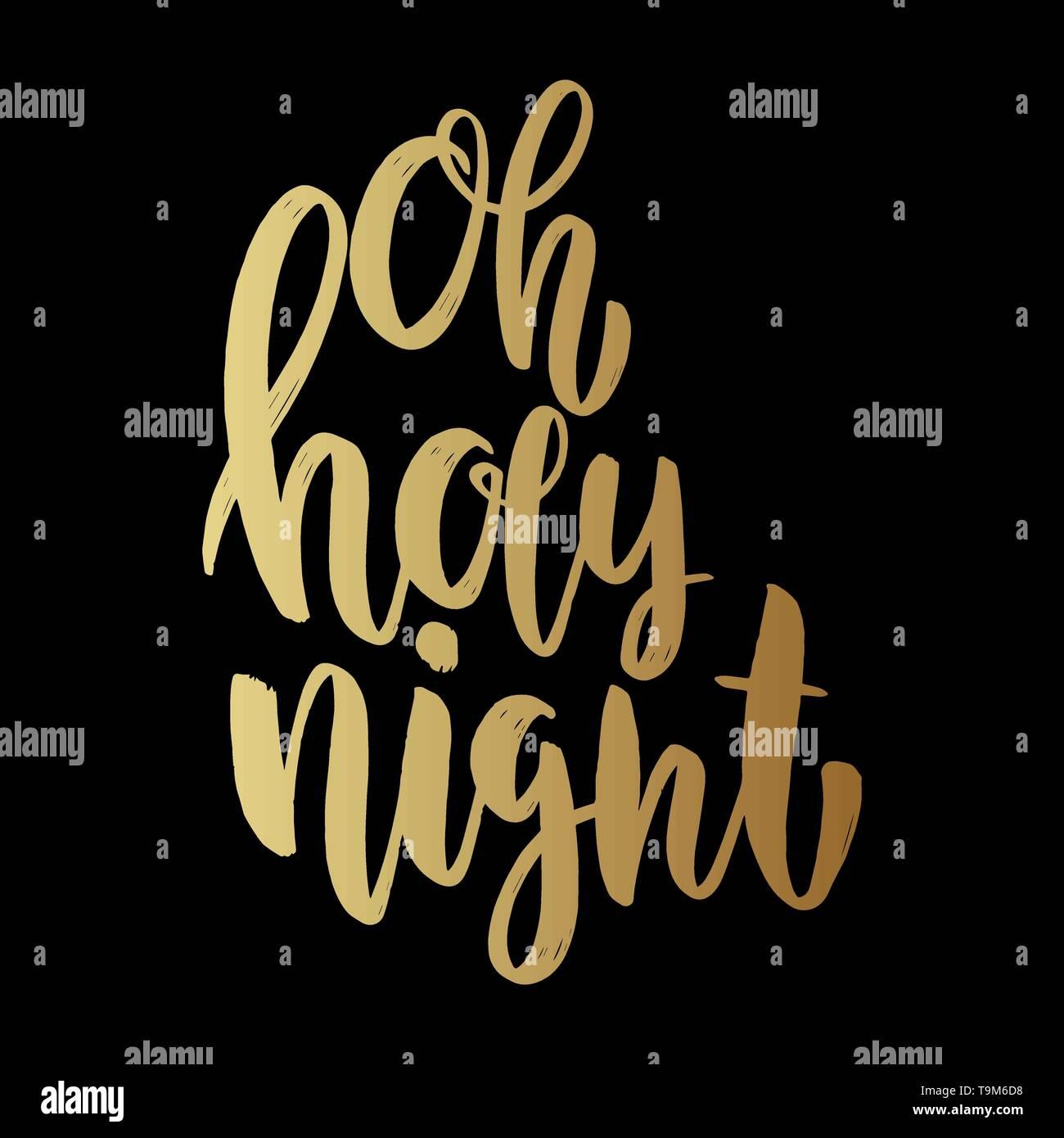 Oh Santa Noche Frase De Letras Sobre Un Fondo Oscuro
