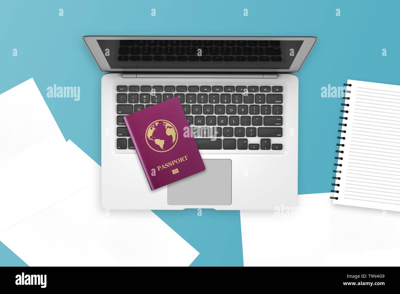 Ilustración 3D de color rojo de carné internacional realista, portátil de vista superior y algunos documentos. Imagen De Stock