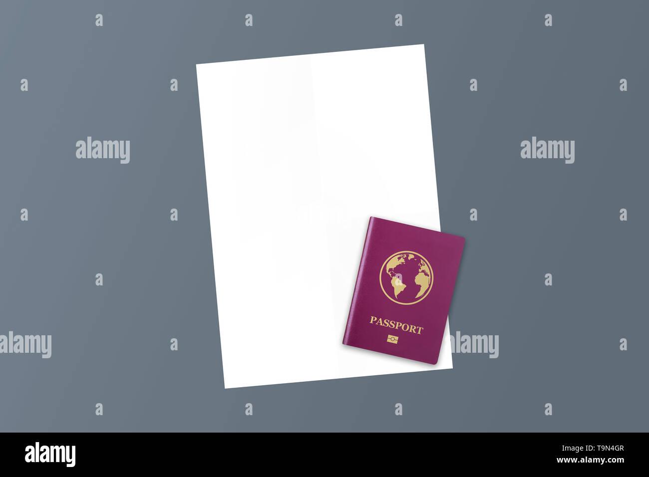 Ilustración 3D de color rojo de carné internacional realista y documento con espacio de copia. Imagen De Stock
