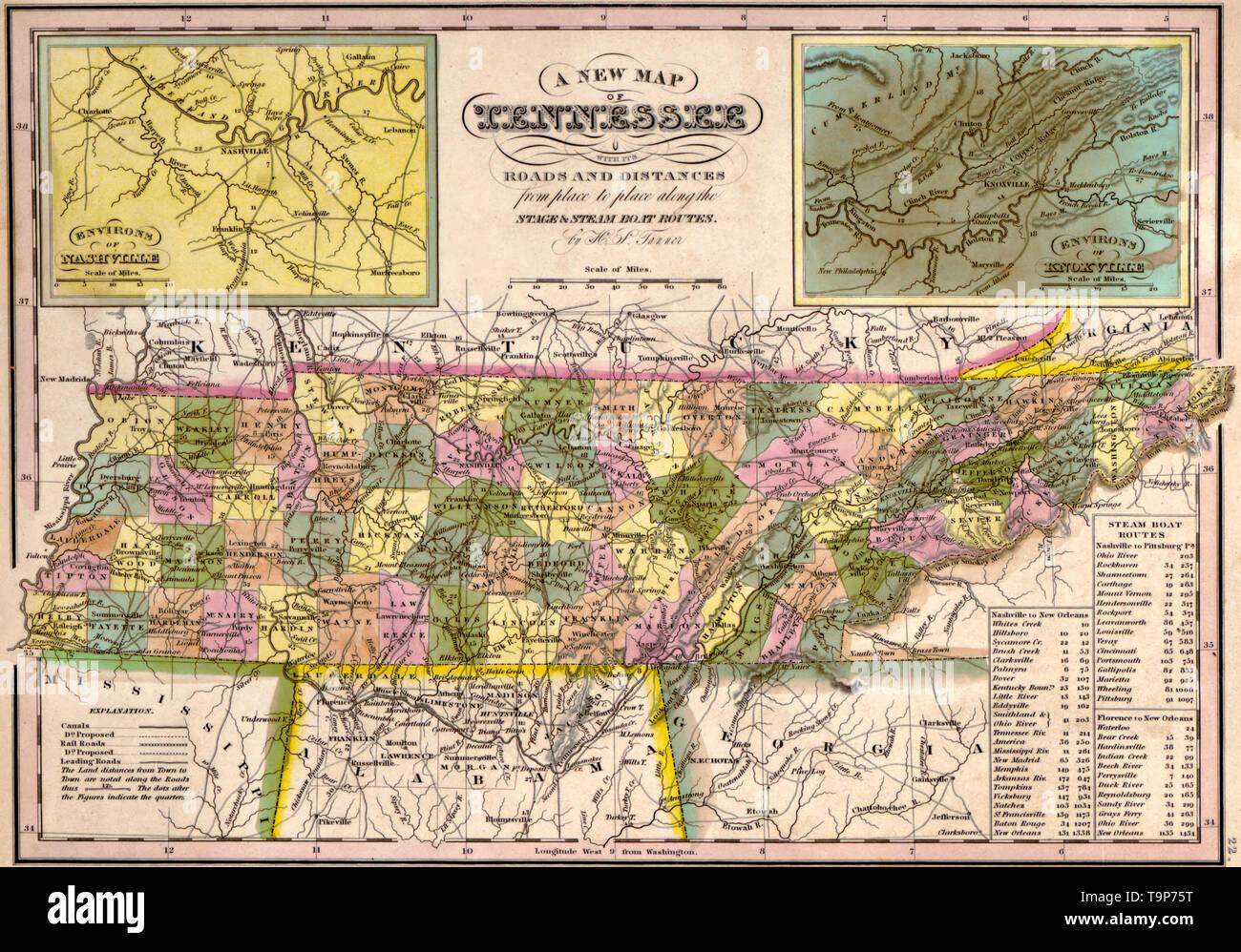 Mapa de Tennessee, 1844 Foto & Imagen De Stock: 246965652 ...