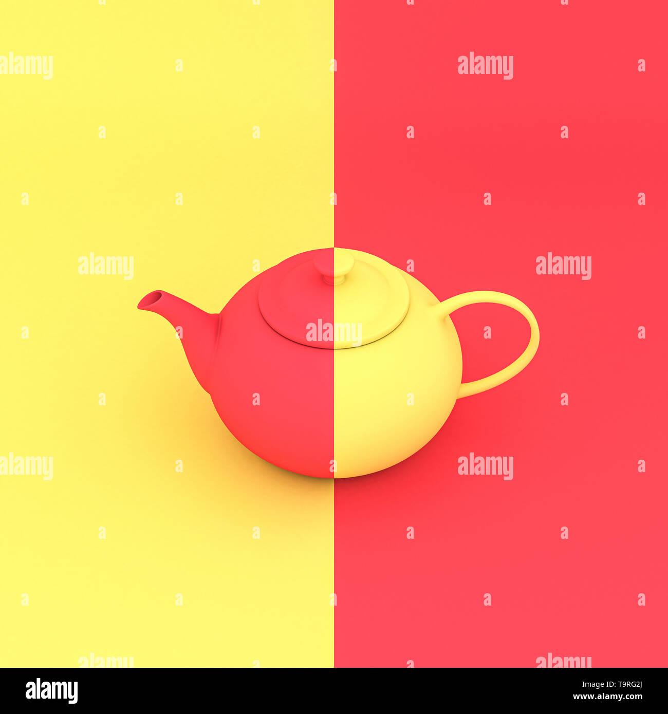 3D Render imagen de un clásico amarillo y coral, tetera, que contrasta con el fondo del mismo color. Foto de stock