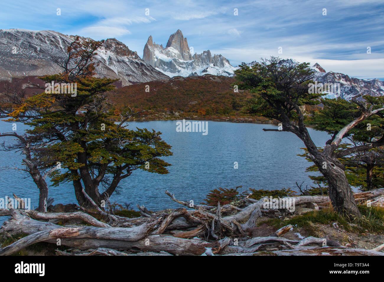 Lago Capri en el Parque Nacional Los Glaciares, cerca de El Chaltén, Argentina. Un sitio de Patrimonio Mundial de la UNESCO en la región de la Patagonia en América del Sur. El lak Foto de stock