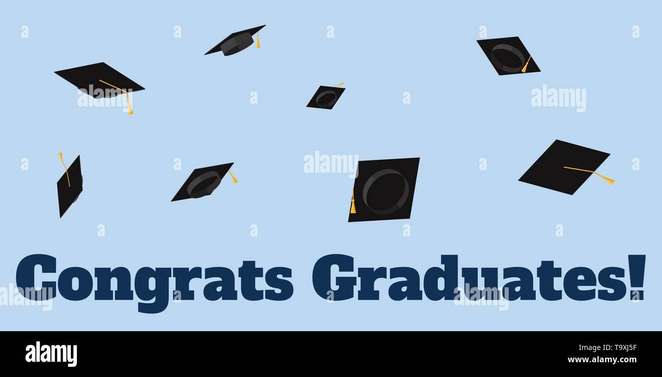 895931f0a Tazas académicas arrojadas al cielo inscripción Felicidades graduados.  Vector ilustración plana. Imagen De Stock