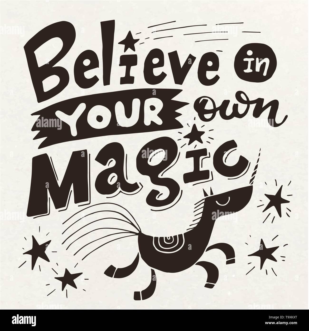 Vector Poster Motivacional Con Lindo Unicornio Y Rotulación