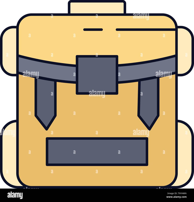 89c241b55 Bolsa con cremallera, acampar, caminatas, equipaje Vector icono color liso  Imagen De Stock
