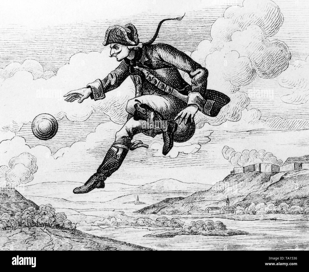 """Ilustración para el cuento """"Paseo sobre el Hombre Bala' por Hieronymus Karl Friedrich Freiherr von Muenchhausen: los llamados """"mentir Baron' vuela sobre una bala de cañón. Foto de stock"""