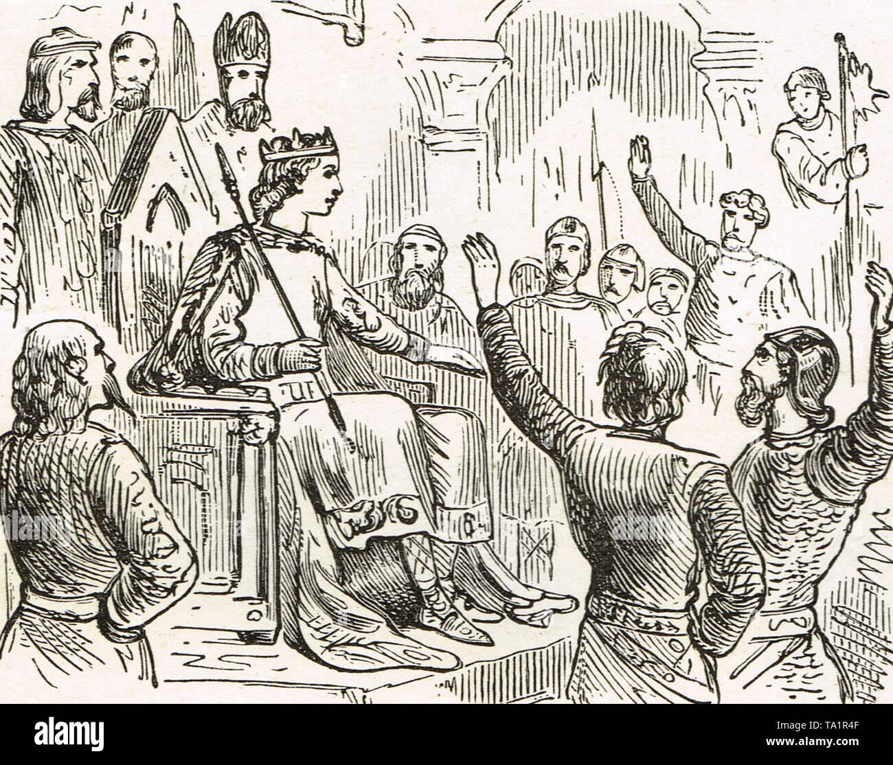 Alfred el Gran ser proclamado rey Foto de stock