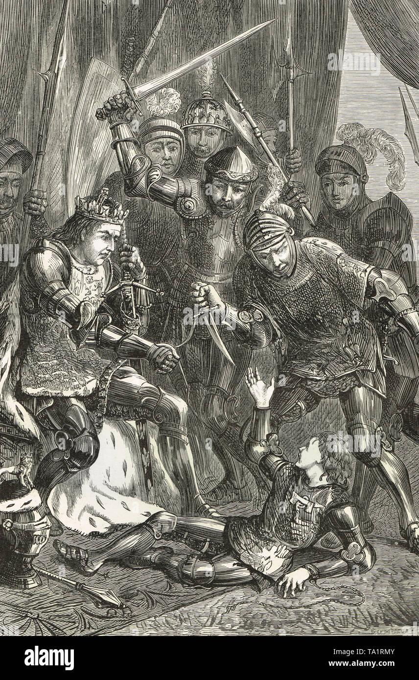 El asesinato de Eduardo de Westminster, Príncipe de Gales, el 4 de mayo de 1471, en Tewkesbury, Gloucestershire, Inglaterra Foto de stock