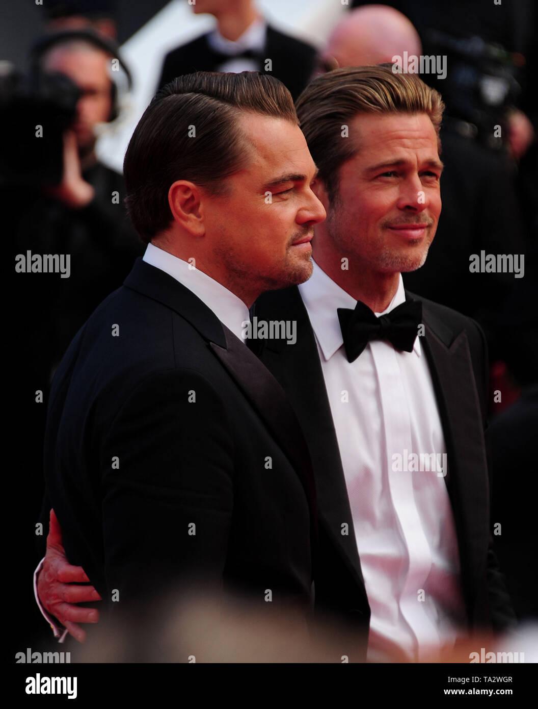 Festival de Cine de Cannes 21stMay en una alfombra roja Brad Pitt Leonardo Dicaprio Foto de stock