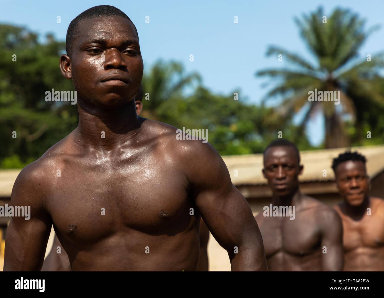 Los hombres de la tribu de Dan bailando con hojas durante una ceremonia, Bafing, Gboni, Costa de Marfil Foto de stock