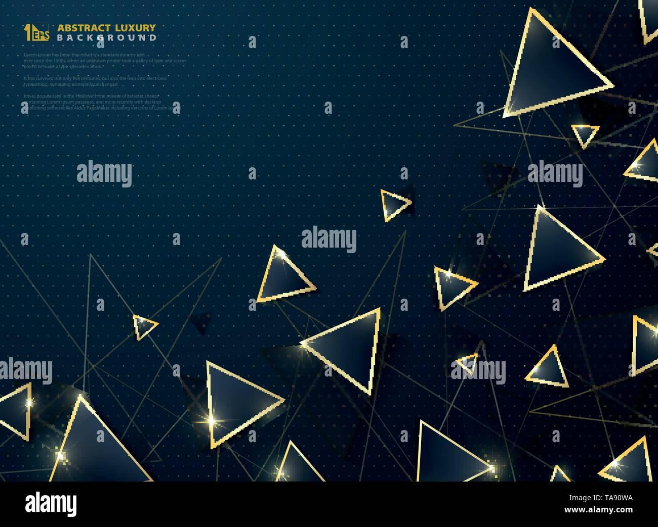 Lujo moderno abstracto triángulo azul con marco dorado decoración reluce el fondo. Diseño moderno para anuncios, carteles, diseño de portada, informe anual del vector. Imagen De Stock