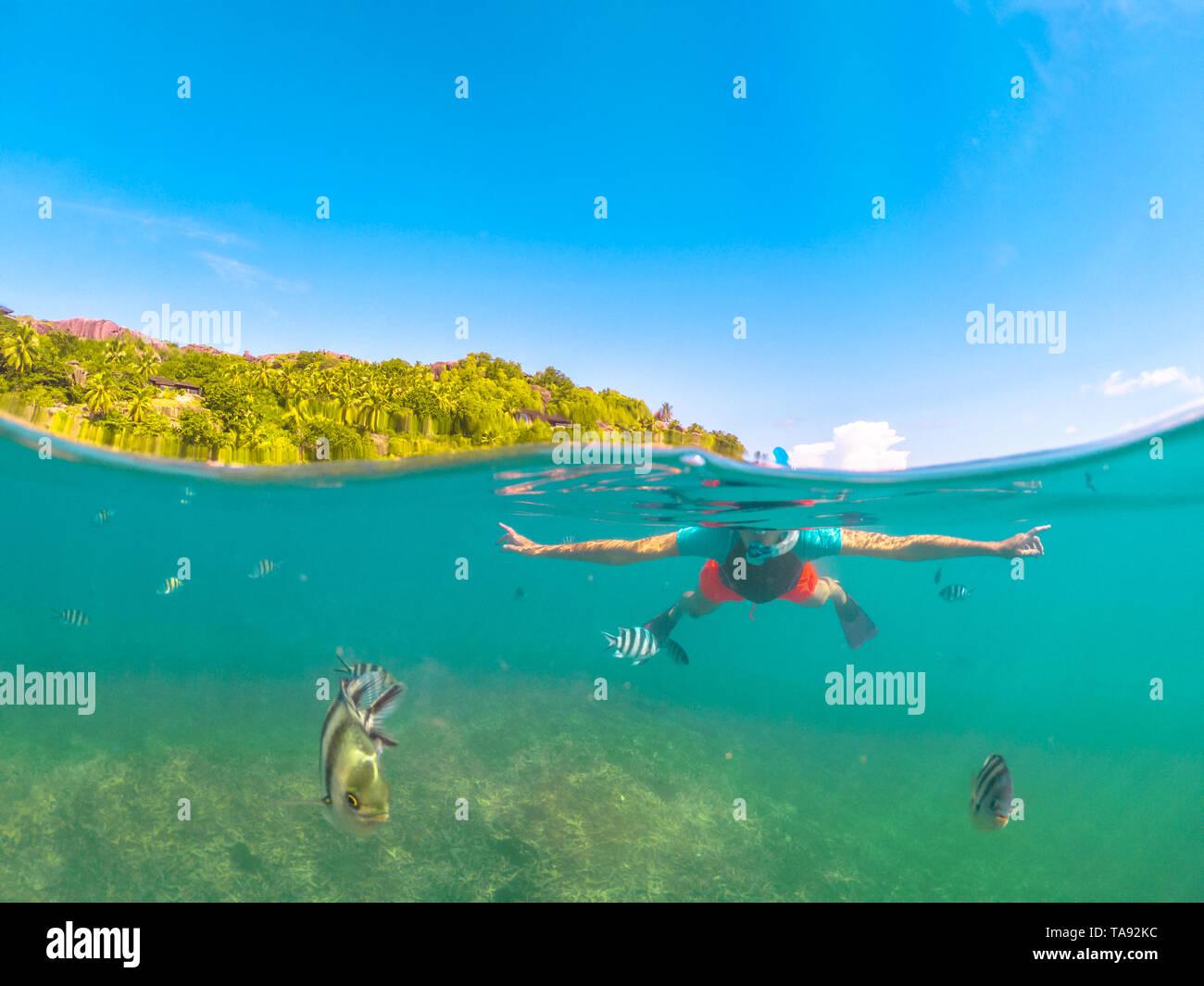 Vista dividida de la apnea femenina bajo y sobre el mar. Mujer de ropa de buceo en Felicite, isla satélite la Digue, Seychelles. Estilo de vida de viaje Foto de stock
