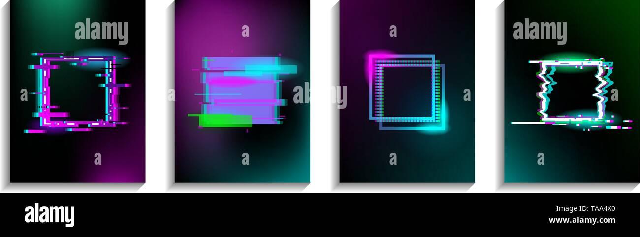 Conjunto De Glitch Plazas Con Efecto De Neón Diseño De