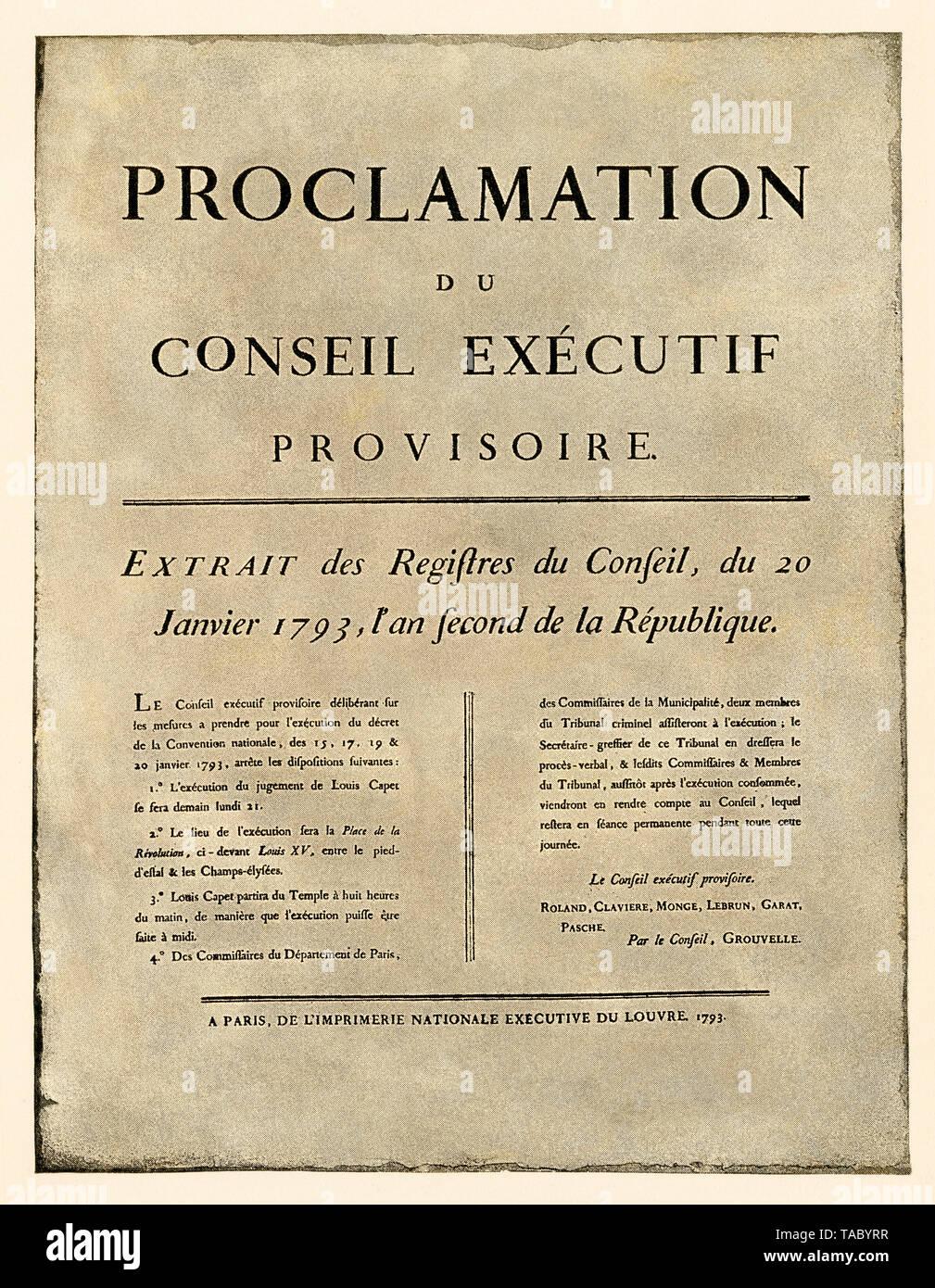 Anuncio de la orden de ejecución de Luis XVI, la Revolución Francesa de 1793. Con un lavado de acuarela de semitono Foto de stock