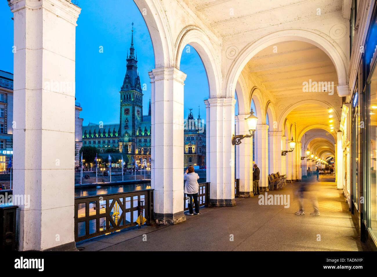 Alemania, Hamburgo, City Hall con lago Alster Foto de stock