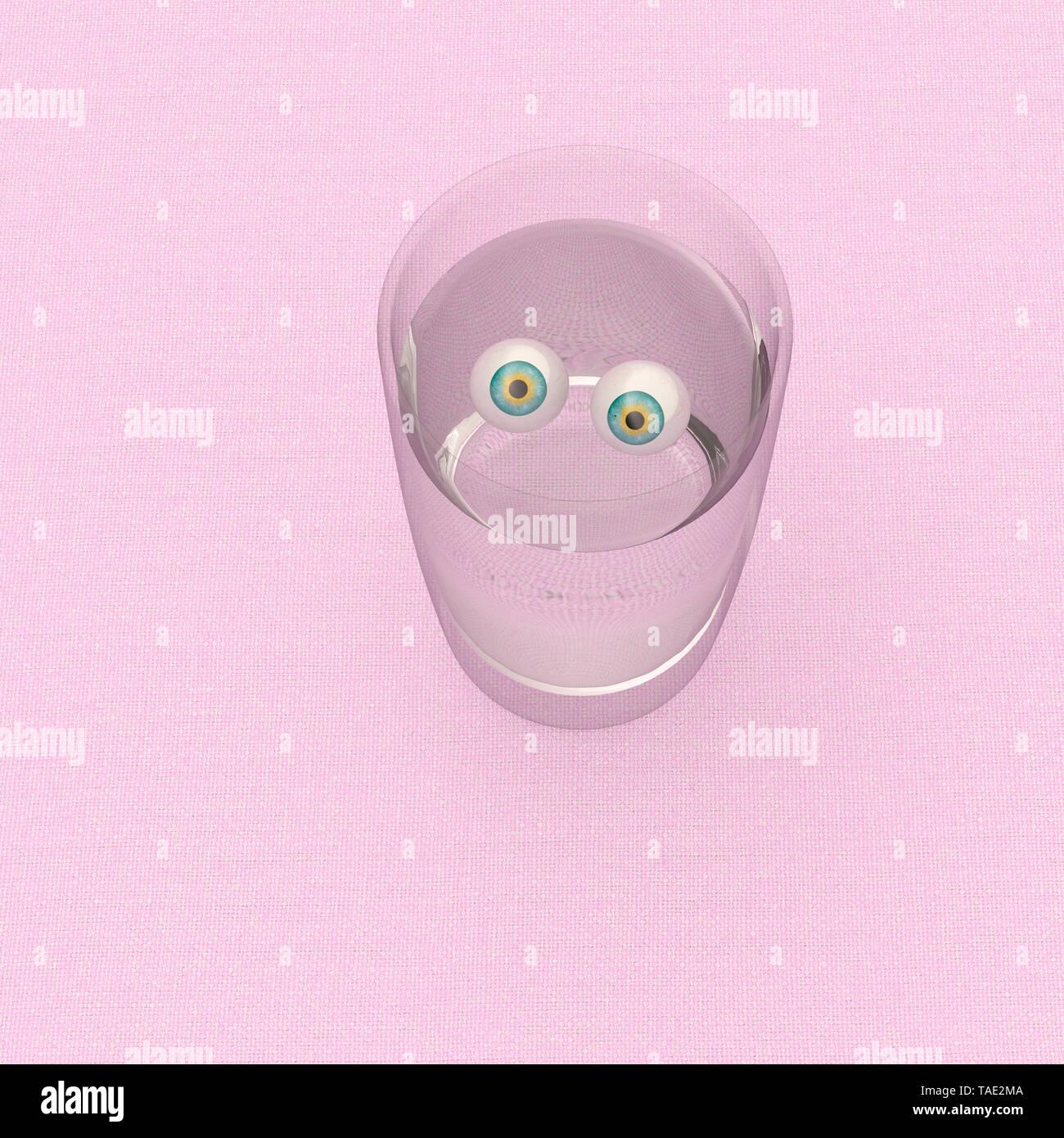 3D Rendering, mirando a los ojos en un vaso de agua. Imagen De Stock