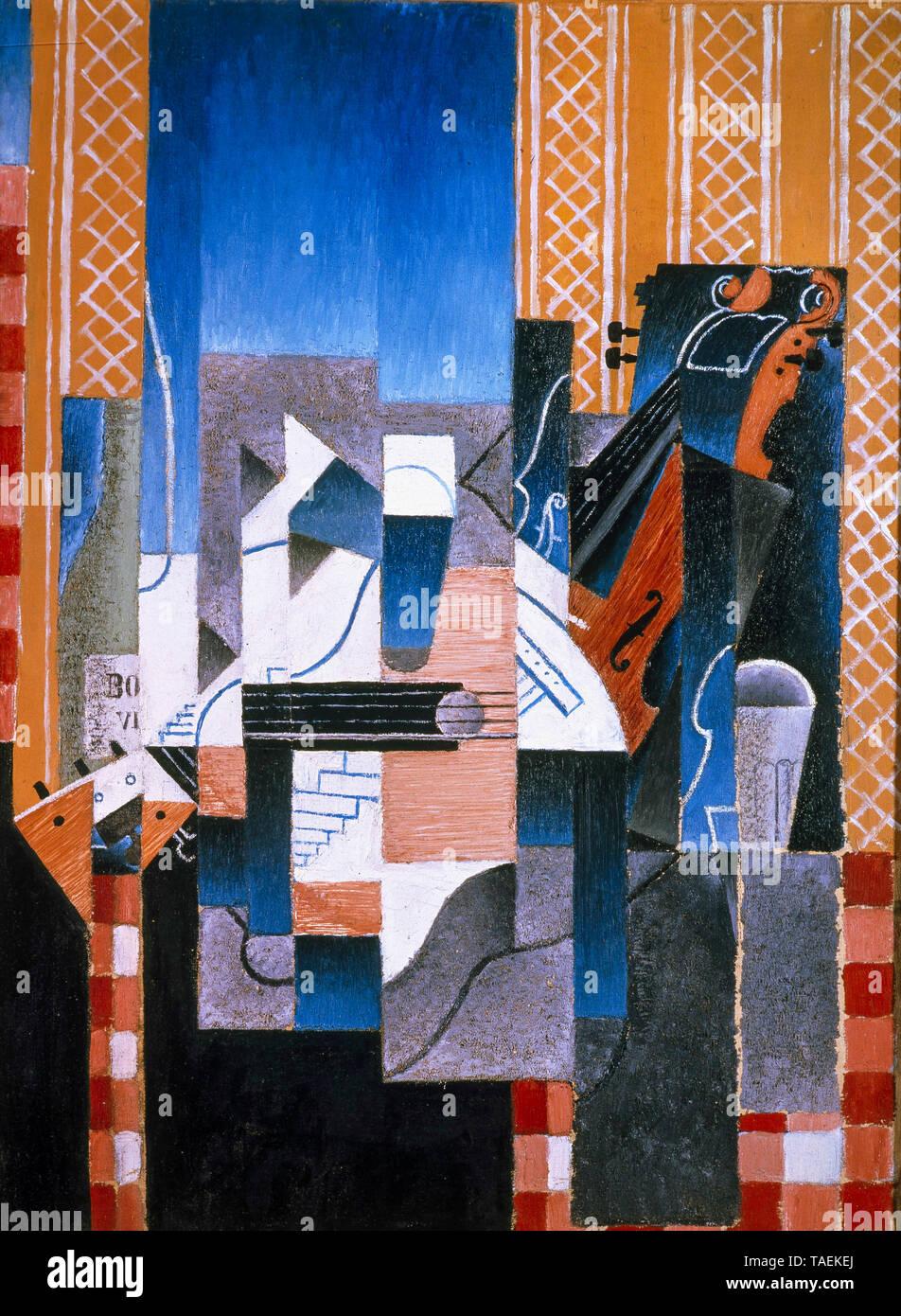 Juan Gris, violín y guitarra, bodegón pintura, 1913 Imagen De Stock