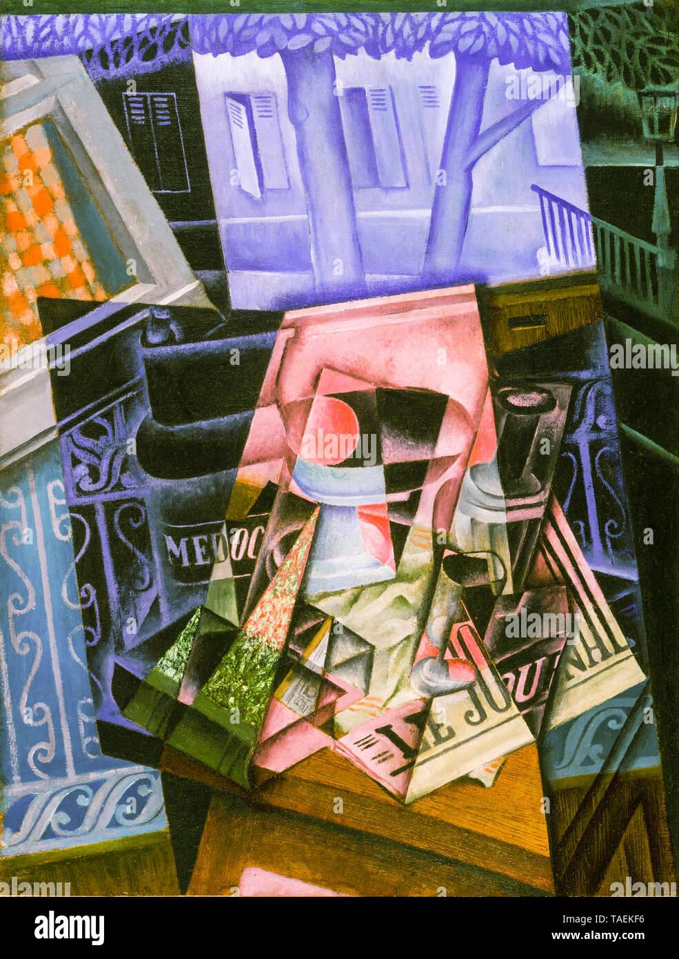 Juan Gris, todavía la vida ante una ventana abierta, colocar Ravignan, bodegón pintura, 1915 Imagen De Stock