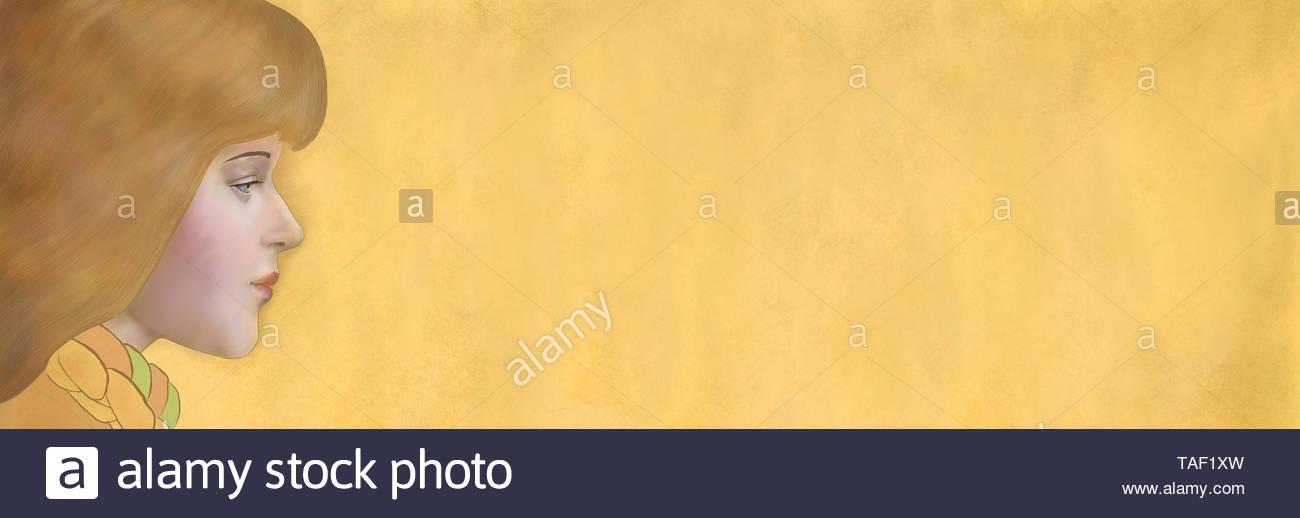 Ilustración - retrato en el perfil de una chica sobre un fondo horizontal de oro Imagen De Stock