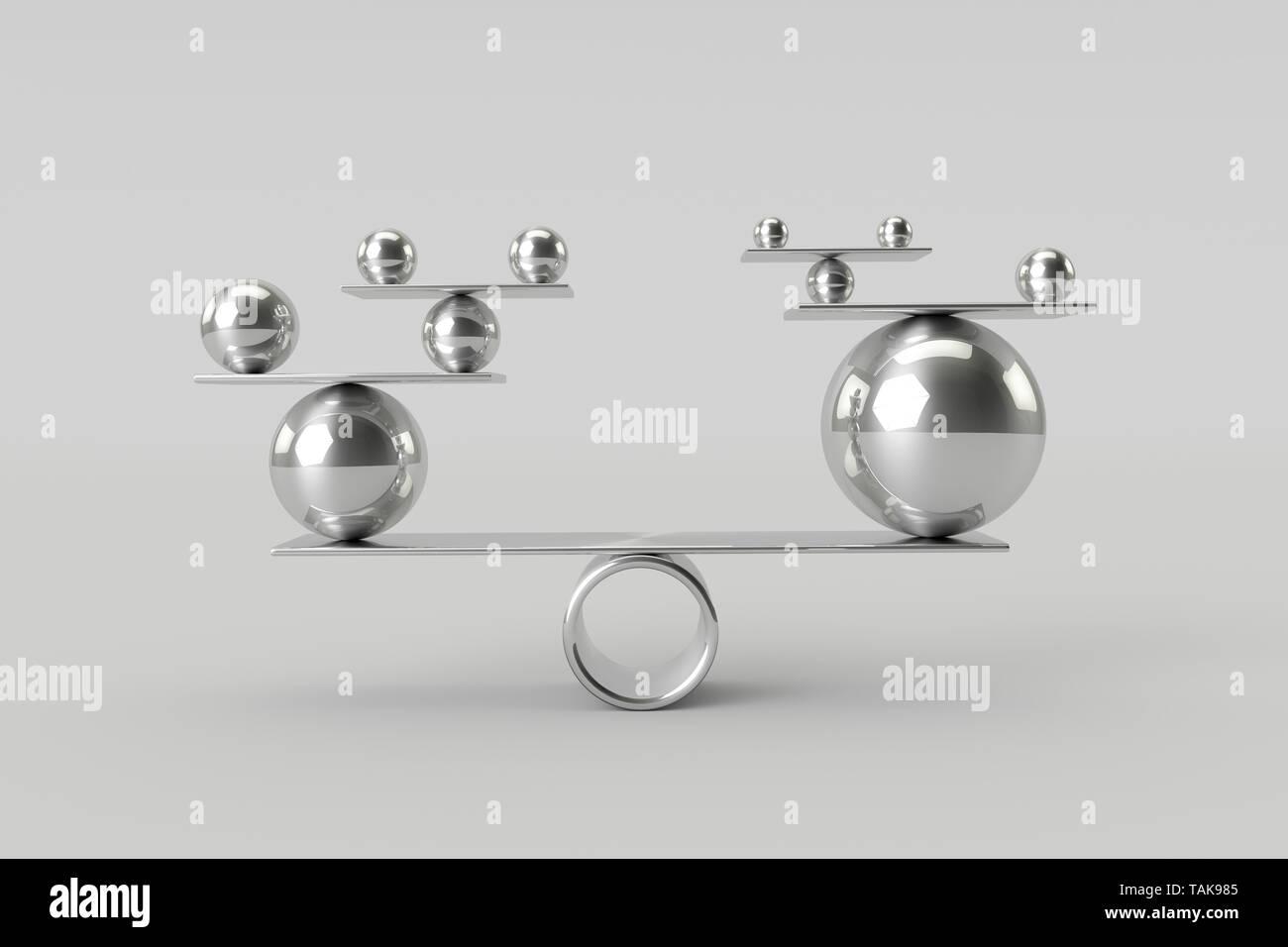 Perfecta Armonía de bolas del cromo brillante.Trabajo en Equipo,y el Balance de Riesgos Concepto.3D rendering. Foto de stock
