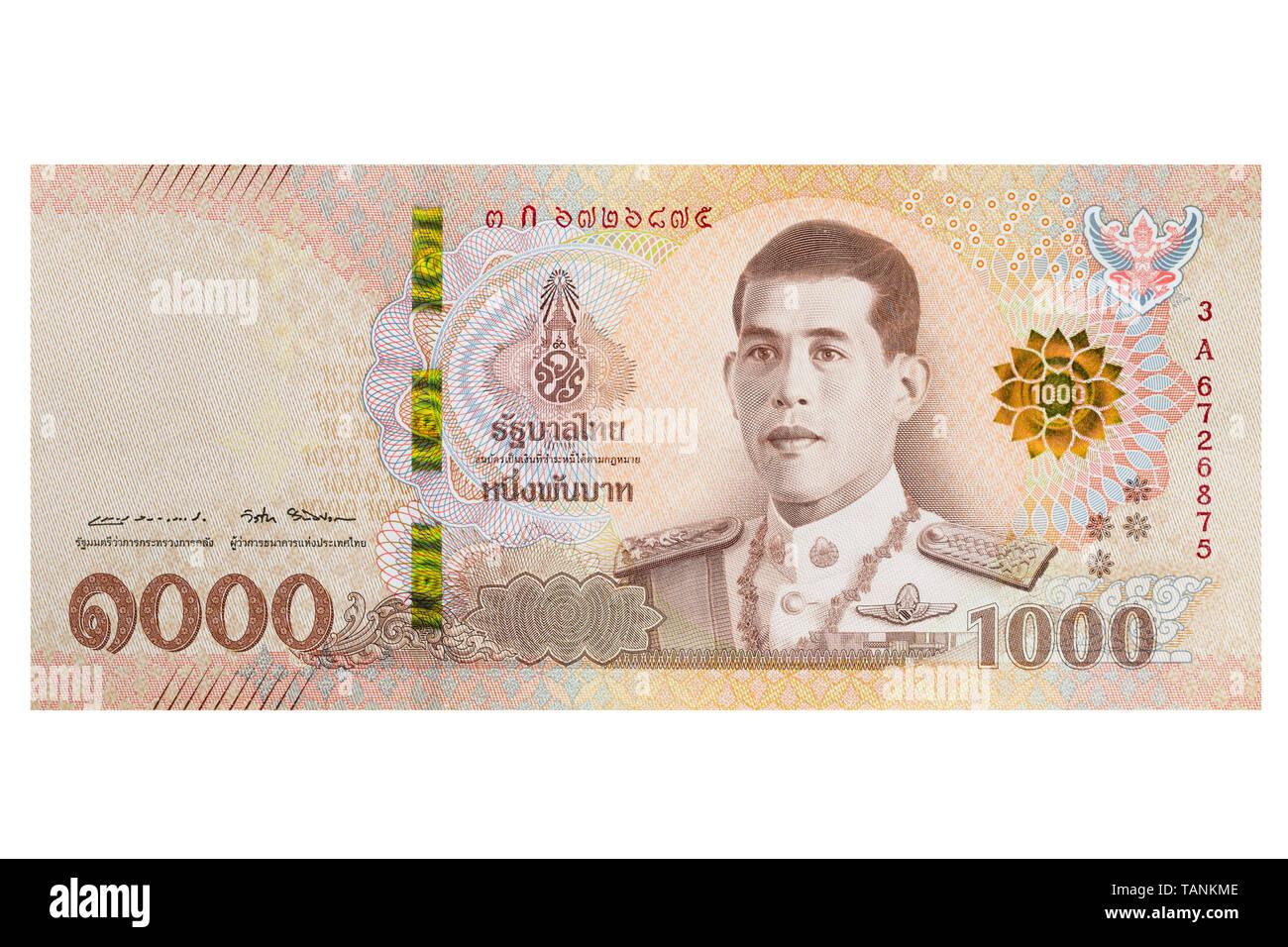 Mil Baht tailandés nota nota sobre un fondo blanco. Foto de stock