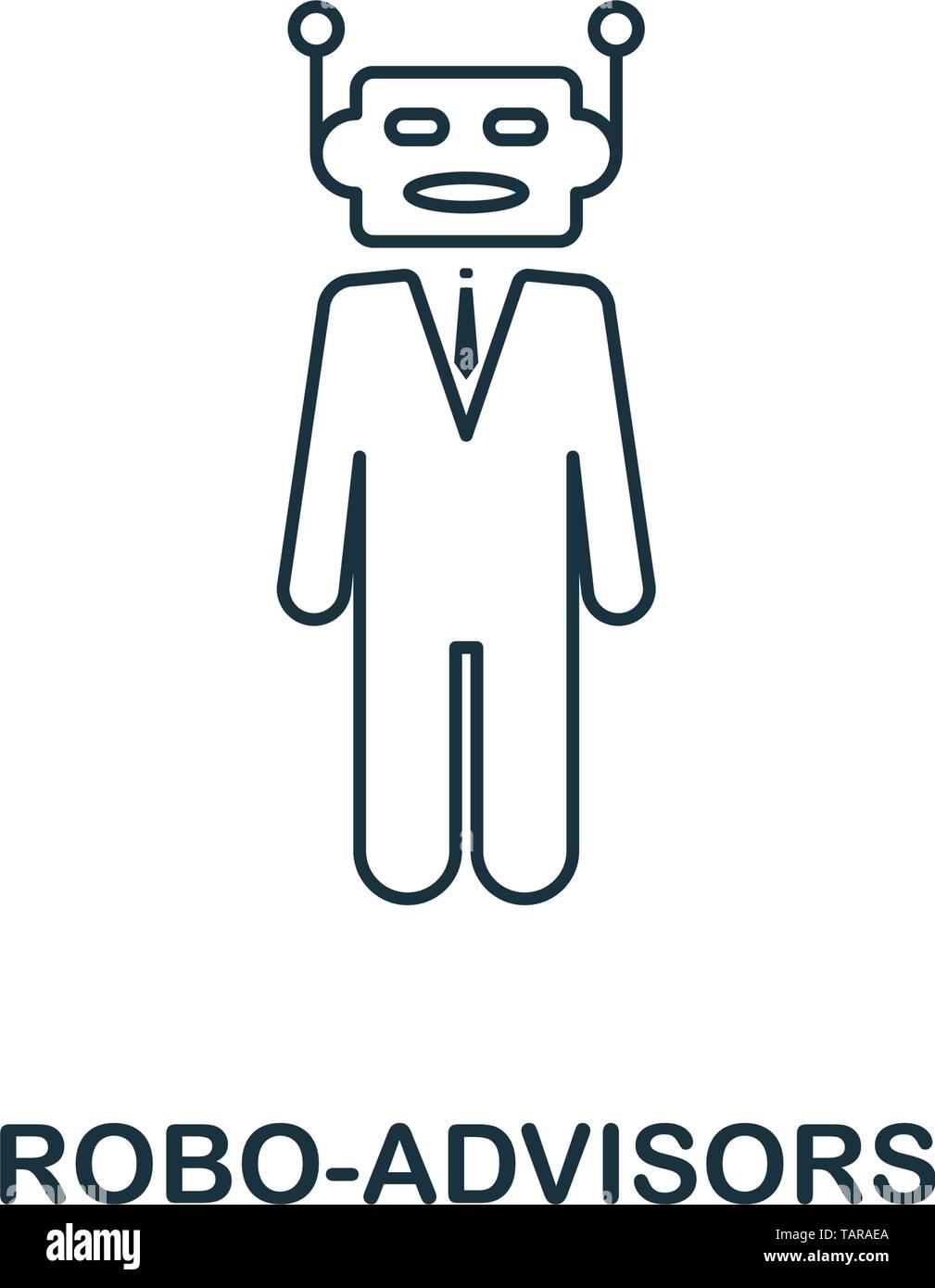 Icono Robo-Advisors estilo de esquema. Diseño de línea delgada de fintech colección de iconos. Pixel Perfect robo-icono de asesores para el diseño web, aplicaciones, software Ilustración del Vector