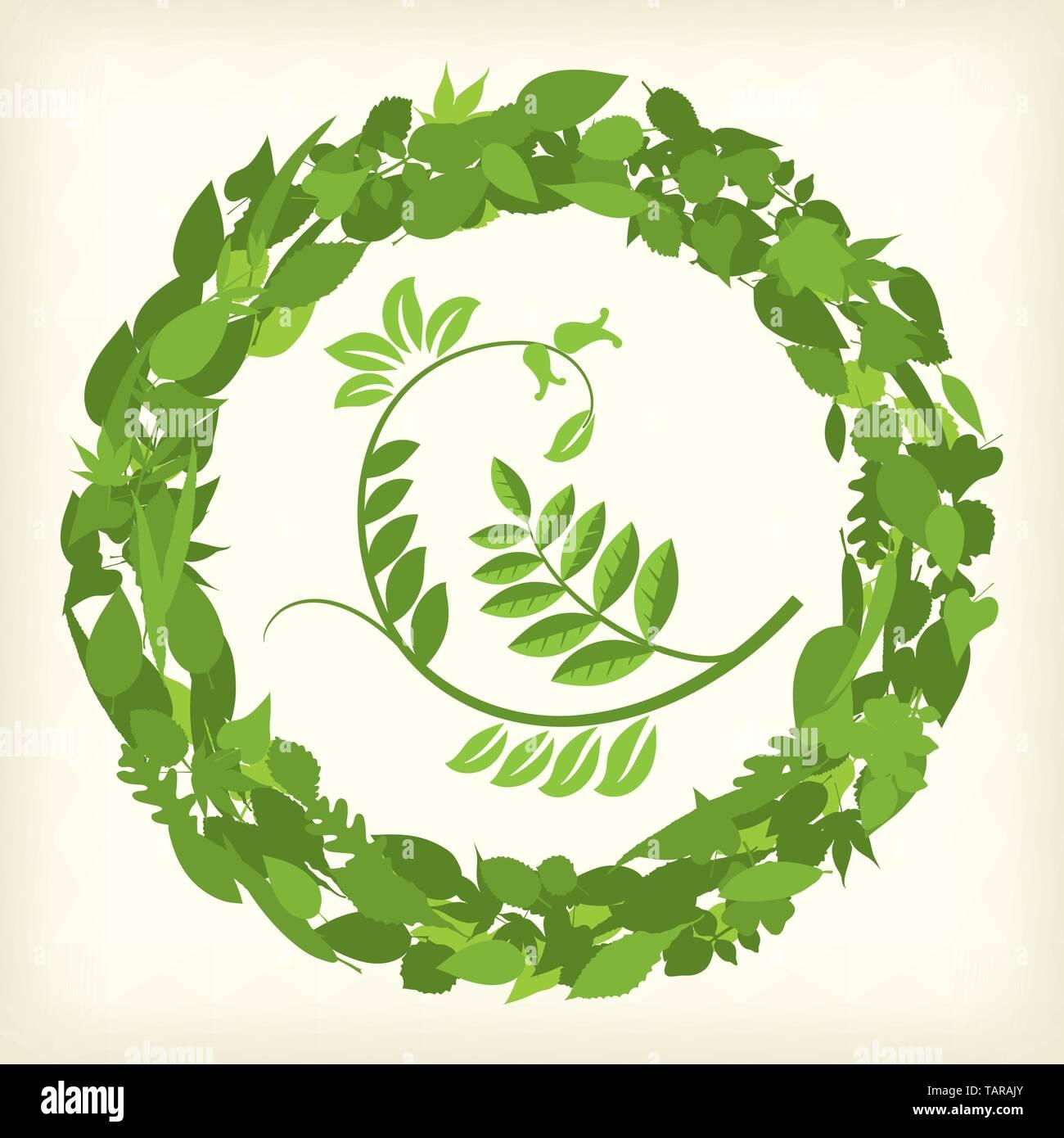 Banner circular de ramas y hojas. Ilustración vectorial. eps10. Imagen De Stock