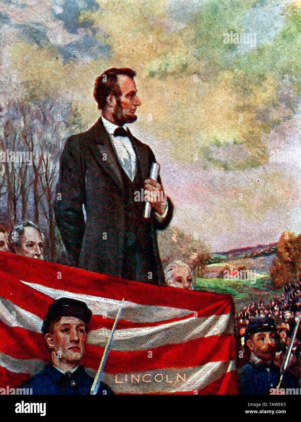 Abraham Lincoln entregando el Discurso de Gettysburg Foto de stock